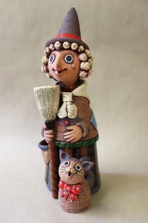 Čarodějnice s koštětem a kočkou velká, 41 cm