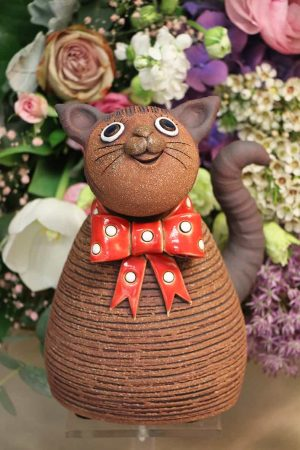 Kočka s mašlí, 21 cm