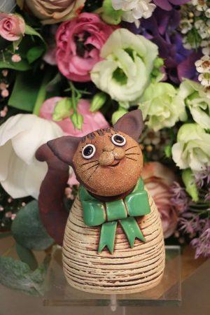 Kočka malá s mašlí, 13 cm