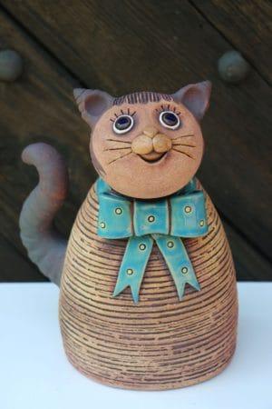 Kočka velká s mašlí, 27cm