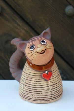 Kočka se srdíčkem, 18 cm