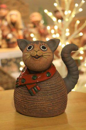 Kočka zimní se šálou, 20 cm