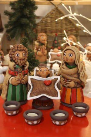 Svatá rodina + 4 svícínky, pruhy, výška 23 cm