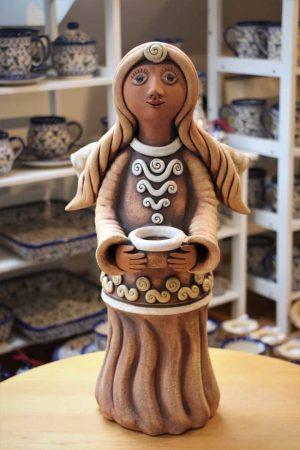 Anděl velký s miskou na svíčku, 47 cm
